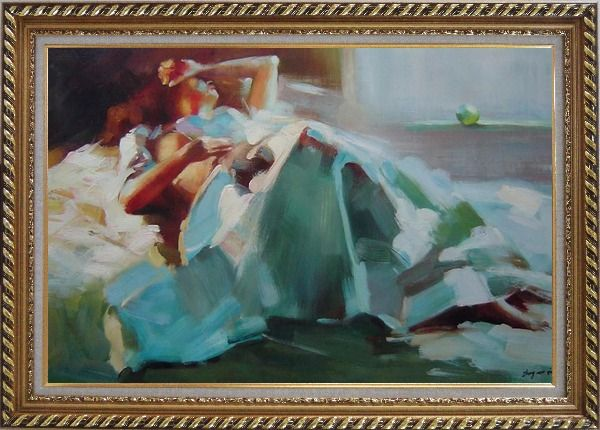 Framed Girl Takes a Nap Under Summer Sunshine Oil Painting Portraits Woman Impressionism Exquisite Gold Wood Frame 30 x 42 Inches