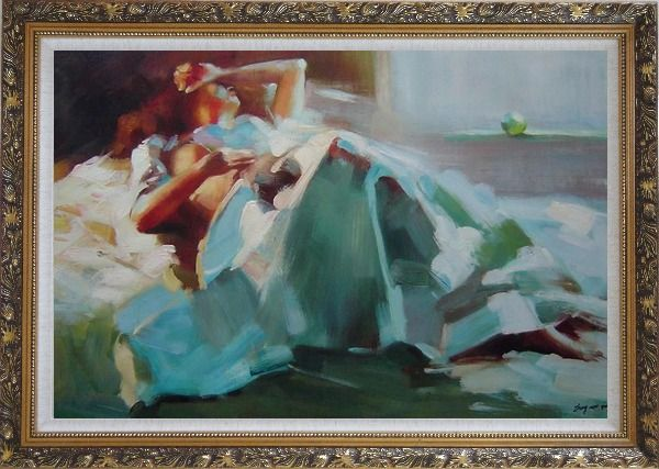 Framed Girl Takes a Nap Under Summer Sunshine Oil Painting Portraits Woman Impressionism Ornate Antique Dark Gold Wood Frame 30 x 42 Inches