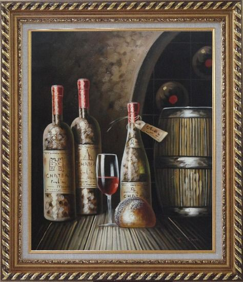 Framed Wine Cask, Wine Bottles and Glass Of Wine in Wine Cellar Oil Painting Still Life Classic Exquisite Gold Wood Frame 30 x 26 Inches