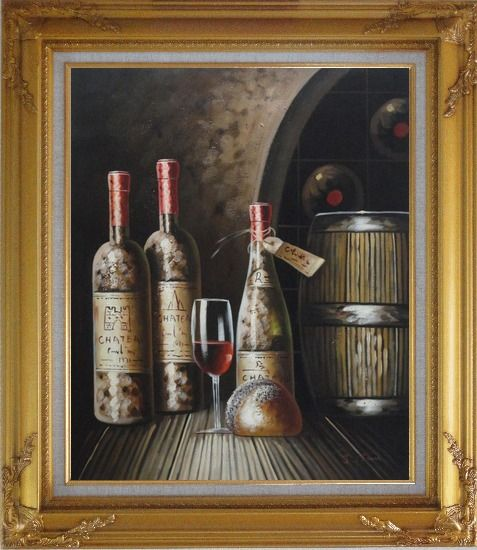 Framed Wine Cask, Wine Bottles and Glass Of Wine in Wine Cellar Oil Painting Still Life Classic Gold Wood Frame with Deco Corners 31 x 27 Inches