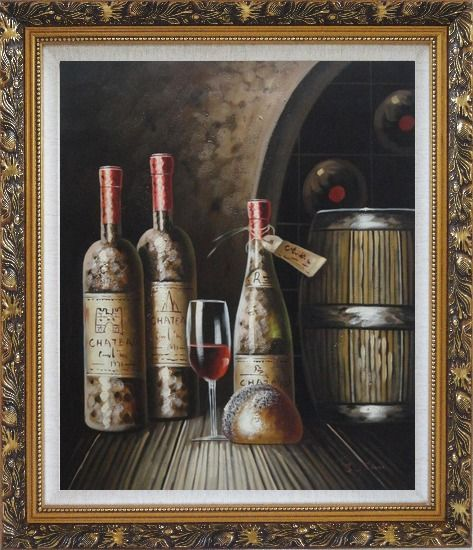 Framed Wine Cask, Wine Bottles and Glass Of Wine in Wine Cellar Oil Painting Still Life Classic Ornate Antique Dark Gold Wood Frame 30 x 26 Inches