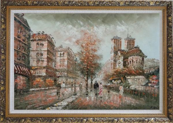 Framed Walk on Street Near Notre-Dame Cathedral in Paris, Warm Color Oil Painting Cityscape France Impressionism Ornate Antique Dark Gold Wood Frame 30 x 42 Inches