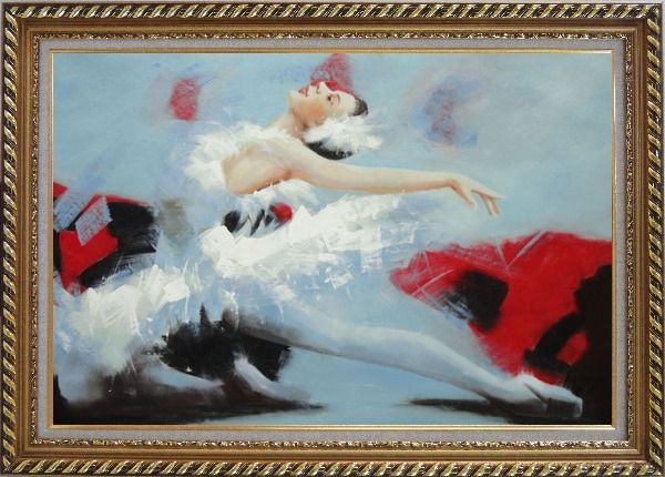 Framed Swan Lake Ballet Dancer Oil Painting Portraits Woman Classic Exquisite Gold Wood Frame 30 x 42 Inches