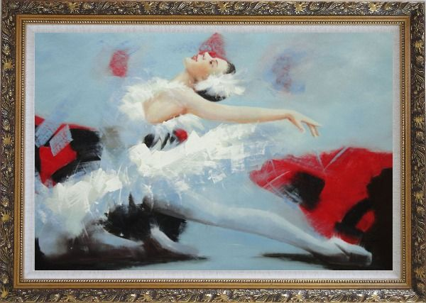 Framed Swan Lake Ballet Dancer Oil Painting Portraits Woman Classic Ornate Antique Dark Gold Wood Frame 30 x 42 Inches