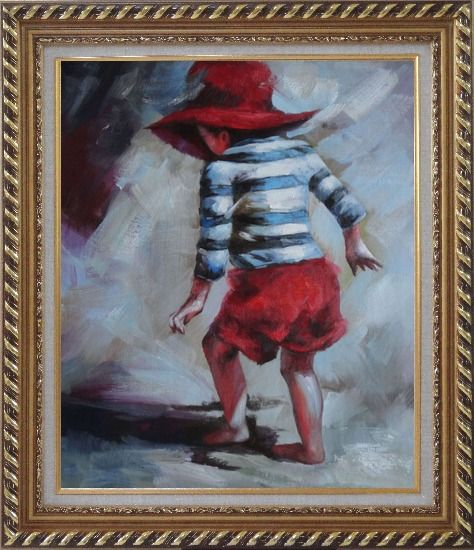 Framed Red Hat Little Child Walking on Beach under Summer Sunshine Oil Painting Portraits Impressionism Exquisite Gold Wood Frame 30 x 26 Inches