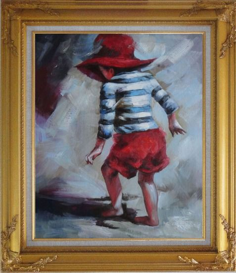 Framed Red Hat Little Child Walking on Beach under Summer Sunshine Oil Painting Portraits Impressionism Gold Wood Frame with Deco Corners 31 x 27 Inches