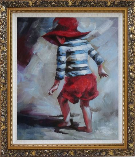 Framed Red Hat Little Child Walking on Beach under Summer Sunshine Oil Painting Portraits Impressionism Ornate Antique Dark Gold Wood Frame 30 x 26 Inches
