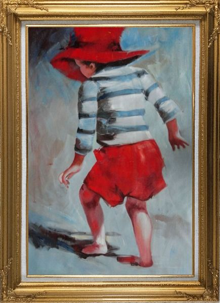 Framed Red Hat Little Child Walking on Beach under Summer Sunshine Oil Painting Portraits Impressionism Gold Wood Frame with Deco Corners 43 x 31 Inches
