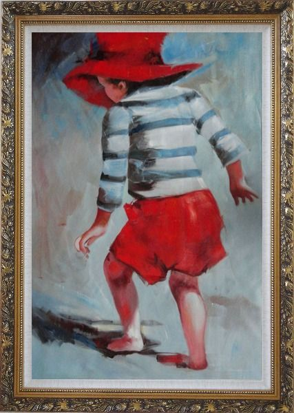 Framed Red Hat Little Child Walking on Beach under Summer Sunshine Oil Painting Portraits Impressionism Ornate Antique Dark Gold Wood Frame 42 x 30 Inches