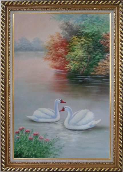 Framed Beautiful White Swan Couple On Scenic Lake with Flowers Oil Painting Animal Naturalism Exquisite Gold Wood Frame 42 x 30 Inches