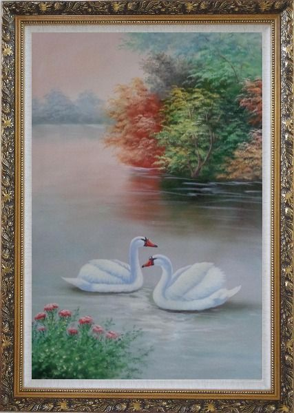 Framed Beautiful White Swan Couple On Scenic Lake with Flowers Oil Painting Animal Naturalism Ornate Antique Dark Gold Wood Frame 42 x 30 Inches