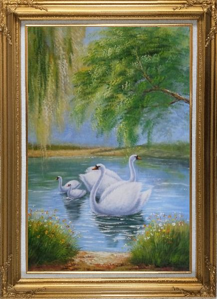 Framed White Swan Family Under Trees On Lake in Spring Oil Painting Animal Naturalism Gold Wood Frame with Deco Corners 43 x 31 Inches