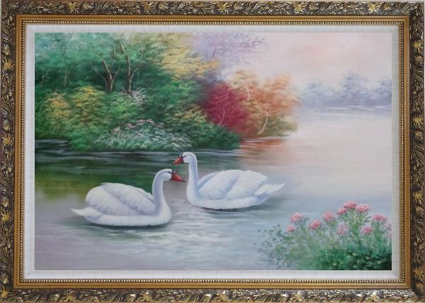 Framed Lovely Pair of White Swans in Peaceful Lake Oil Painting Animal Classic Ornate Antique Dark Gold Wood Frame 30 x 42 Inches