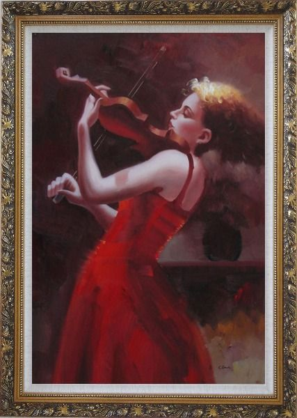 Framed Blonde Girl With Long Skirt Play Violin Oil Painting Portraits Woman Classic Ornate Antique Dark Gold Wood Frame 42 x 30 Inches