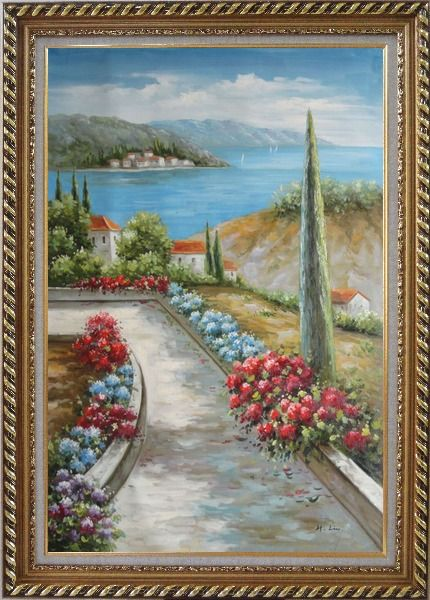Framed Beautiful Flowers Along the Coastal Walkway Oil Painting Mediterranean Naturalism Exquisite Gold Wood Frame 42 x 30 Inches