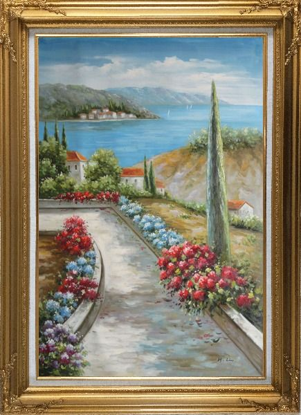 Framed Beautiful Flowers Along the Coastal Walkway Oil Painting Mediterranean Naturalism Gold Wood Frame with Deco Corners 43 x 31 Inches