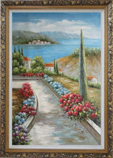 Framed Beautiful Flowers Along the Coastal Walkway Oil Painting Mediterranean Naturalism Ornate Antique Dark Gold Wood Frame 42 x 30 Inches