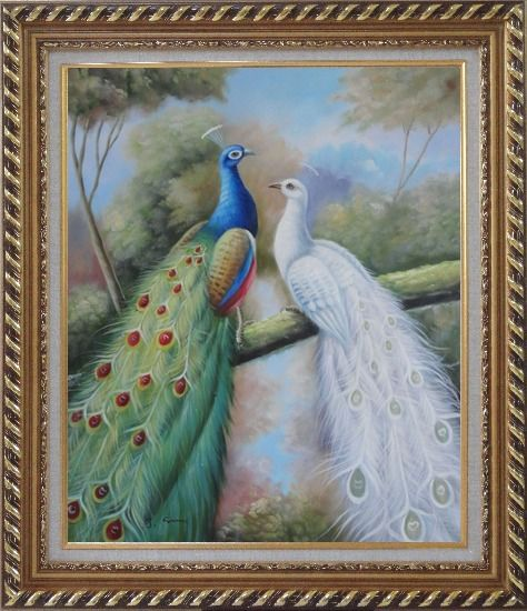 Framed  Blue and White Peacocks in Garden Oil Painting Animal Naturalism Exquisite Gold Wood Frame 30 x 26 Inches