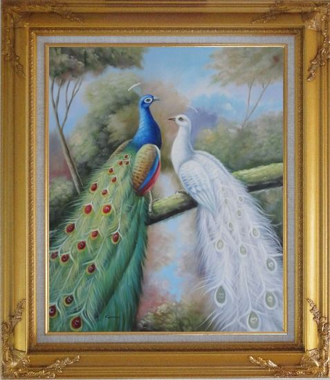 Framed  Blue and White Peacocks in Garden Oil Painting Animal Naturalism Gold Wood Frame with Deco Corners 31 x 27 Inches
