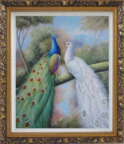 Framed  Blue and White Peacocks in Garden Oil Painting Animal Naturalism Ornate Antique Dark Gold Wood Frame 30 x 26 Inches