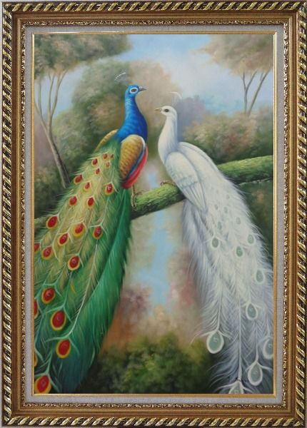 Framed  Blue and White Peacocks in Garden Oil Painting Animal Naturalism Exquisite Gold Wood Frame 42 x 30 Inches