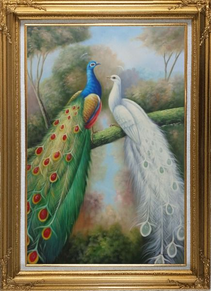Framed  Blue and White Peacocks in Garden Oil Painting Animal Naturalism Gold Wood Frame with Deco Corners 43 x 31 Inches