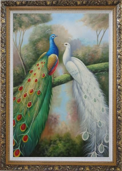 Framed  Blue and White Peacocks in Garden Oil Painting Animal Naturalism Ornate Antique Dark Gold Wood Frame 42 x 30 Inches