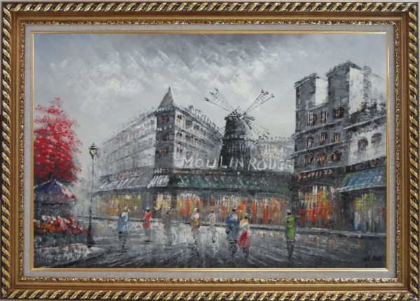 Framed People Walk On Street Near Moulin Rouge of Paris Oil Painting Cityscape France Impressionism Exquisite Gold Wood Frame 30 x 42 Inches