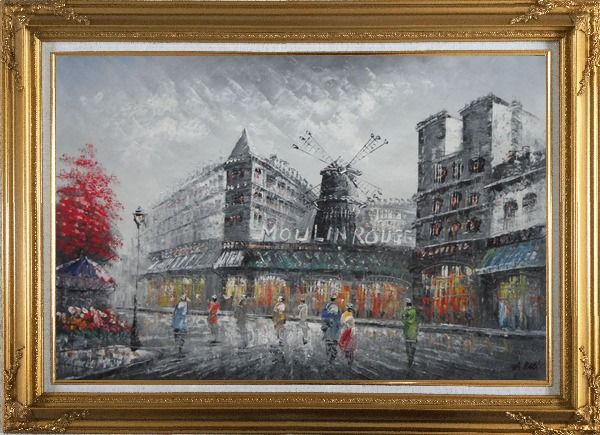 Framed People Walk On Street Near Moulin Rouge of Paris Oil Painting Cityscape France Impressionism Gold Wood Frame with Deco Corners 31 x 43 Inches