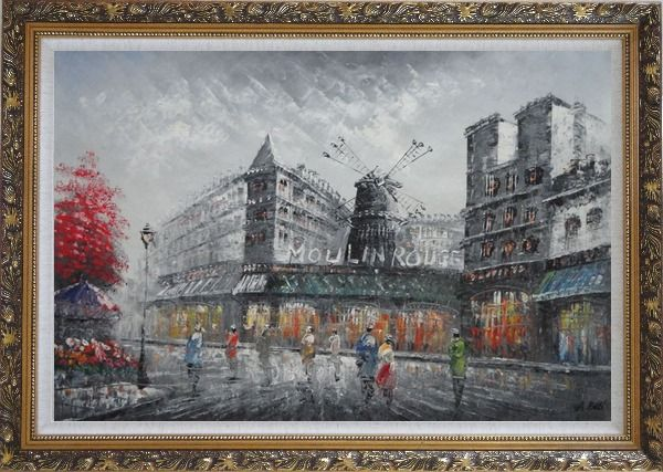 Framed People Walk On Street Near Moulin Rouge of Paris Oil Painting Cityscape France Impressionism Ornate Antique Dark Gold Wood Frame 30 x 42 Inches