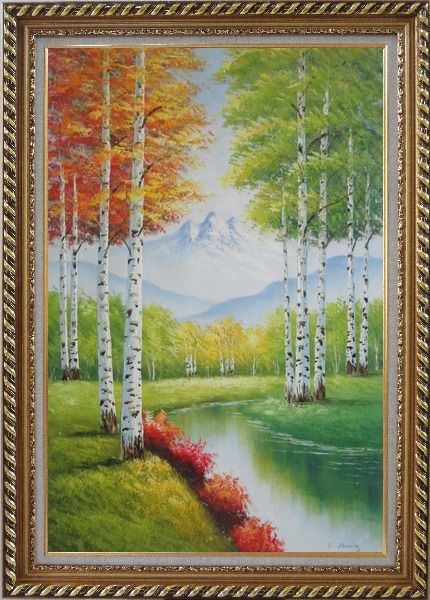 Framed Green And Yellow Trees Along Quiet Stream with Peaked Snow Mountain in View Oil Painting Landscape Autumn Naturalism Exquisite Gold Wood Frame 42 x 30 Inches
