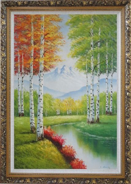 Framed Green And Yellow Trees Along Quiet Stream with Peaked Snow Mountain in View Oil Painting Landscape Autumn Naturalism Ornate Antique Dark Gold Wood Frame 42 x 30 Inches