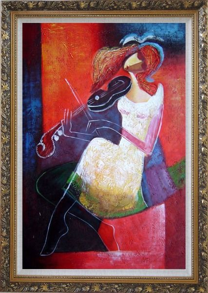 Framed Girl Playing Violin Modern Painting Oil Portraits Woman Musician Ornate Antique Dark Gold Wood Frame 42 x 30 Inches