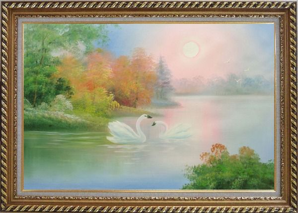 Framed Lovely Pair of Swans in Peaceful Lake Oil Painting Animal Classic Exquisite Gold Wood Frame 30 x 42 Inches