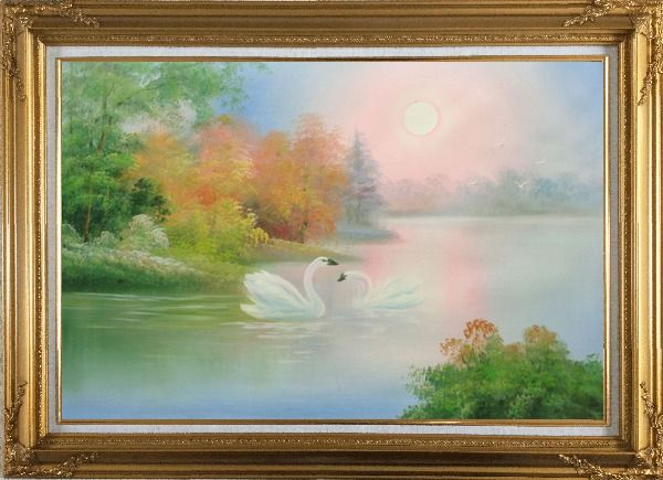 Framed Lovely Pair of Swans in Peaceful Lake Oil Painting Animal Classic Gold Wood Frame with Deco Corners 31 x 43 Inches