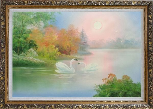Framed Lovely Pair of Swans in Peaceful Lake Oil Painting Animal Classic Ornate Antique Dark Gold Wood Frame 30 x 42 Inches