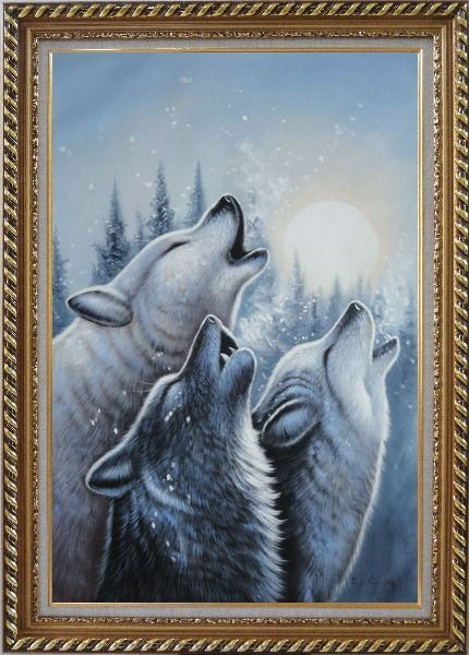 Framed Three Howling Wolves in Snowing Forest with Moonlight Oil Painting Animal Wolf Naturalism Exquisite Gold Wood Frame 42 x 30 Inches