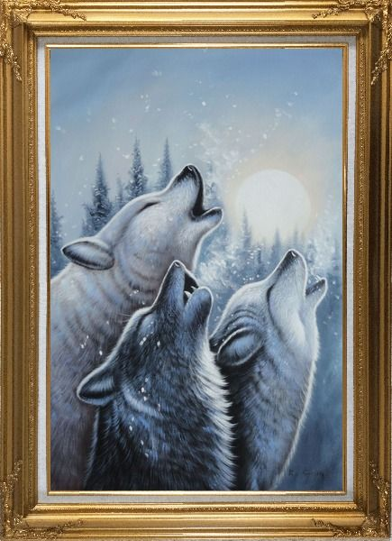 Framed Three Howling Wolves in Snowing Forest with Moonlight Oil Painting Animal Wolf Naturalism Gold Wood Frame with Deco Corners 43 x 31 Inches