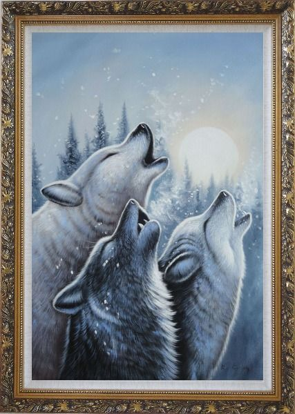 Framed Three Howling Wolves in Snowing Forest with Moonlight Oil Painting Animal Wolf Naturalism Ornate Antique Dark Gold Wood Frame 42 x 30 Inches
