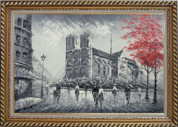 Framed Black White Notre-Dame's Western Facade with Red Trees Oil Painting Cityscape France Impressionism Exquisite Gold Wood Frame 30 x 42 Inches