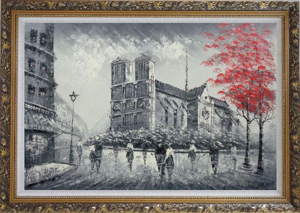 Framed Black White Notre-Dame's Western Facade with Red Trees Oil Painting Cityscape France Impressionism Ornate Antique Dark Gold Wood Frame 30 x 42 Inches