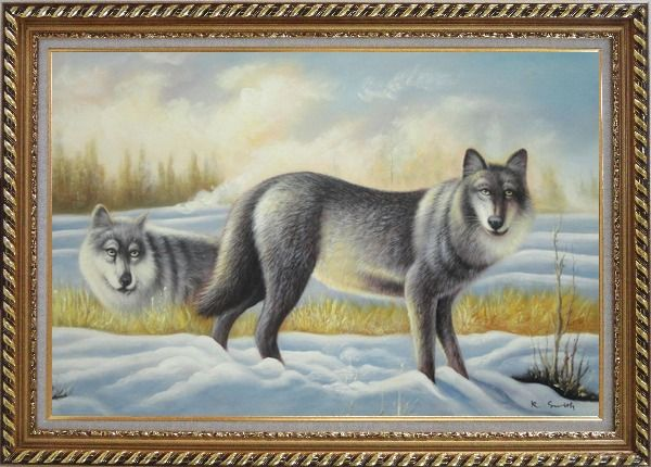 Framed Two Vigilant Wolves on Watch in Snow Wild Oil Painting Animal Wolf Naturalism Exquisite Gold Wood Frame 30 x 42 Inches