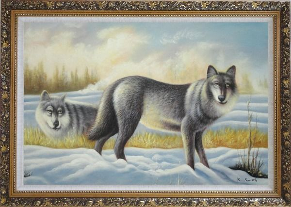 Framed Two Vigilant Wolves on Watch in Snow Wild Oil Painting Animal Wolf Naturalism Ornate Antique Dark Gold Wood Frame 30 x 42 Inches