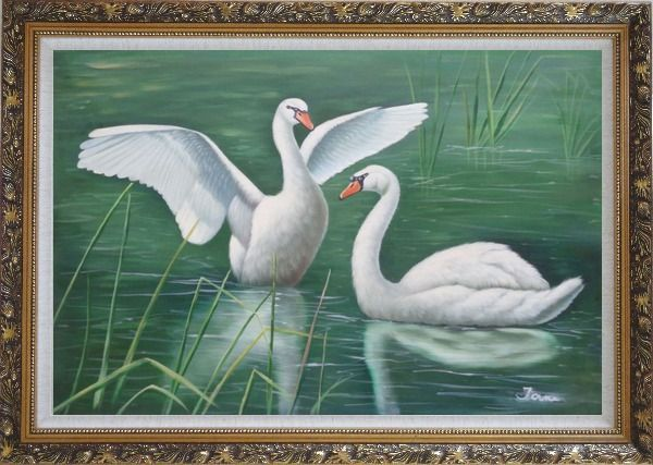 Framed Two Lovely White Swans Playing in Lake Oil Painting Animal Naturalism Ornate Antique Dark Gold Wood Frame 30 x 42 Inches