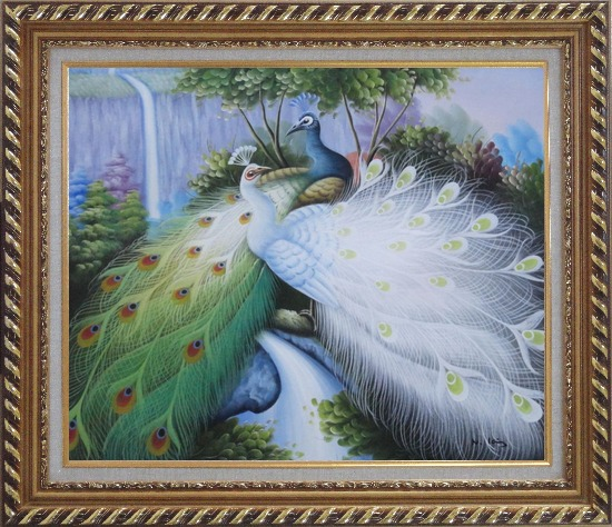 Framed Two Peacocks Roost In Shrubs Oil Painting Animal Naturalism Exquisite Gold Wood Frame 26 x 30 Inches