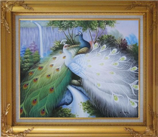 Framed Two Peacocks Roost In Shrubs Oil Painting Animal Naturalism Gold Wood Frame with Deco Corners 27 x 31 Inches