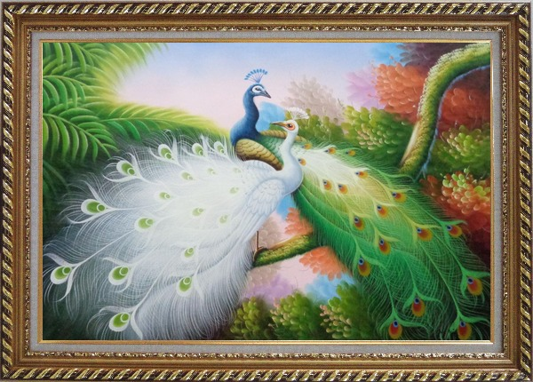Framed Two Peacocks Roost In Shrubs Oil Painting Animal Naturalism Exquisite Gold Wood Frame 30 x 42 Inches