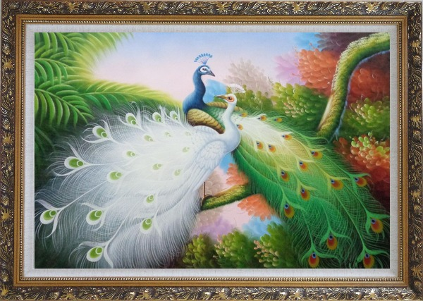 Framed Two Peacocks Roost In Shrubs Oil Painting Animal Naturalism Ornate Antique Dark Gold Wood Frame 30 x 42 Inches