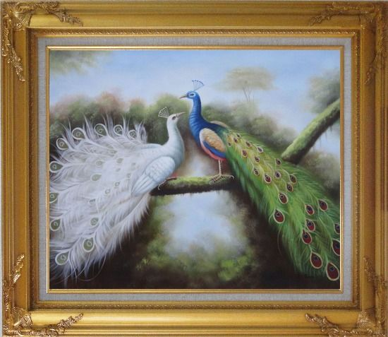 Framed Beautiful Blue and White Peacocks Playing with Each Other Oil Painting Animal Naturalism Gold Wood Frame with Deco Corners 27 x 31 Inches