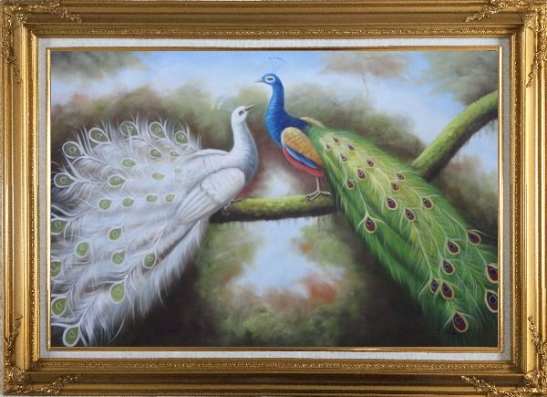 Framed Beautiful Blue and White Peacocks Playing with Each Other Oil Painting Animal Naturalism Gold Wood Frame with Deco Corners 31 x 43 Inches